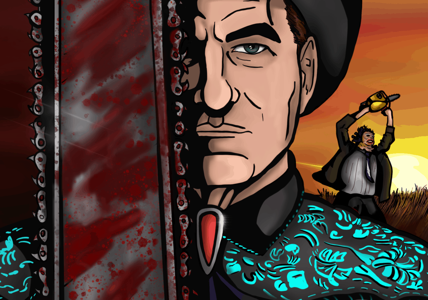 A color illustration of Joe Bob Briggs with Leatherface dancing in the distance