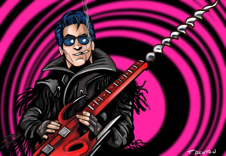 Did this breakdancing leather-clad rockabilly killer really exist in Slumber Party Massacre 2? Does it matter? (Art by T.J. Denton @TDenton_1138)