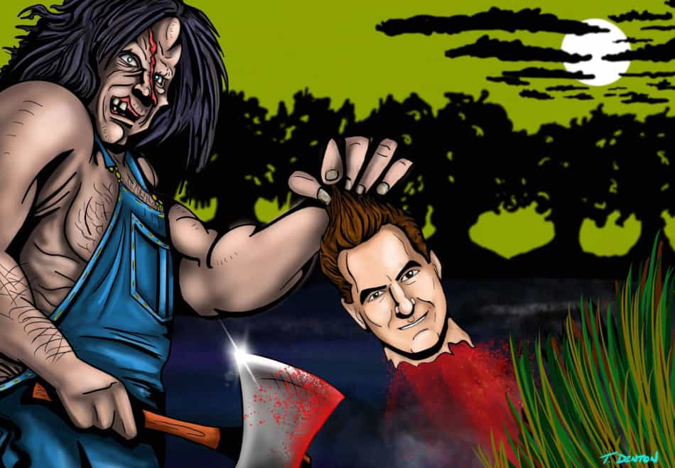 Victor Crowley, numero four-o in the series of Hatchet films, had the largest collection of special guests in the history of The Last Drive-In. (Art by T.J. Denton @TDenton_1138)